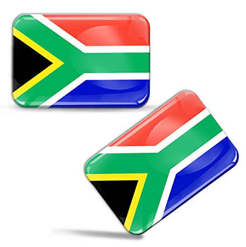Biomar Labs® 2 x sticker 3D gel siliconen stickers Zuid-Afrikaanse vlag Zuid-Afrika Afrikaanse vlag South Africa nationale vlag ZA auto motorfiets raam deur PC Tablet Laptop F 76