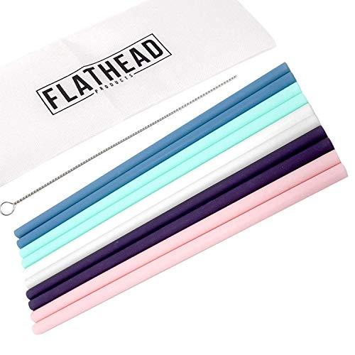 Flathead Pajitas Reutilizables De Silicona Rectas (Set De 10) - Compatibles Con Tazas Reutilizables De 0,6 L - Pajitas De Silicona Con Cepillo De Limpieza Incluido