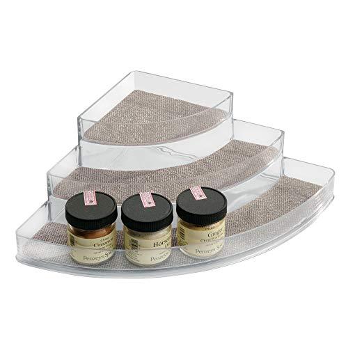 InterDesign Twillo Especiero esquinero con 3 niveles   Para especies para cocinar, etc.   Accesorios cocina almacenamiento en la encimera   Plástico metálico