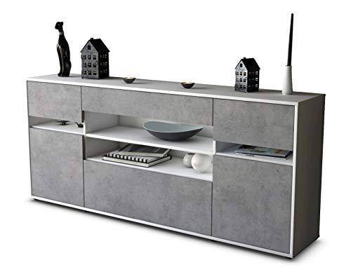 Stil.Zeit Sideboard Gina/Korpus Weiss matt/Front Beton Optik (180x79x35cm) Push-to-Open Technik & Leichtlaufschienen