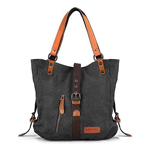Canvas Purses and Handbags for Women -Mifine Canvas Shoulder Bags 2 in 1 Casual Tote Bag Convertible Backpack Outdoor Travel Vintage Satchel Rucksack for Unisex