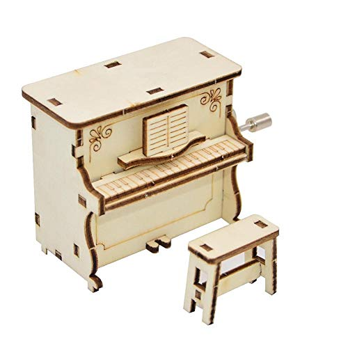 Houten Piano Shaped Music Box Handslinger Musical Educational Kinder Gift QPLNTCQ