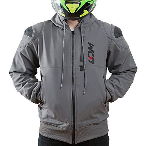 LDM ExoFlex Kevlar Hoodie Wasserdichte Motorradjacke | Motorrad Softshelljacke mit Hoodie und Schutzpanzer | Winterjacke mit DuPontTM® Kevlar gefüttert