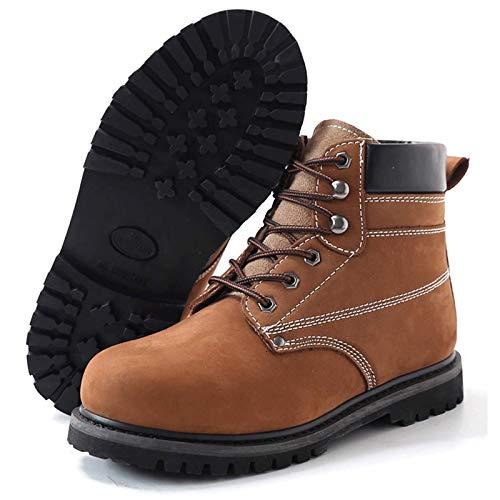 WANGLX Botas Tierra,Botas Trabajo Al Aire Libre Zapatos Seguridad Zapatos Protección Anti-aplastamiento y Anti-puñaladas Suela Goma Antideslizante Resistente Al Desgaste,Brown-45