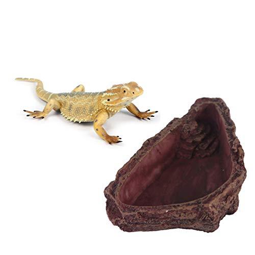 POPETPOP Cuenco de Alimentación de Gecko de Resina - Cuenco de Comida de Lagarto Comedero de Dragón Barbudo Corteza de Árbol de Imitación Comida de Reptil Y Plato de Agua Cuenca de Alimentación