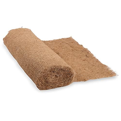 Natursache Kokos Erosionsschutzmatte 1,1 x 10m Rolle I Kokos 225gr/m² auf Jute Gewebe 300g/m² I Böschungsmatte für Hänge und Teichufer I Reißfest verwebt zur Absicherung an Hängen