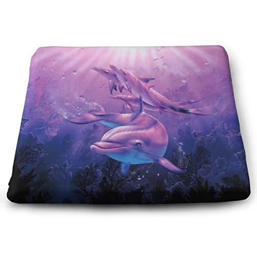 Memory Foam Pad zitkussen. Autostoel kussens om hoogte te verhogen - bureaustoel Comfort kussen - paarse dolfijn onder de zee