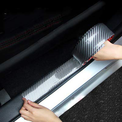 Car Door Sill Protector,Carbon Fiber Black Car Door Sill Scuff Plate Cover Anti Scratch Sticker,Front Bumper Spoiler Bendable Door Sill Scuff with Strong Adhesive For Any Car(5cm*3m Black)