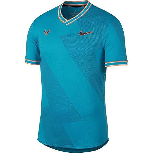Nike Rafa Arorct Jacquard Top SS, Maglietta Uomo, Blu (Lt Blue Fury/Obsidian), S