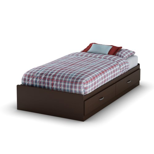 South Shore Logik Mates Bed with 2 Drawers, Twin 39-inch, Chocolate