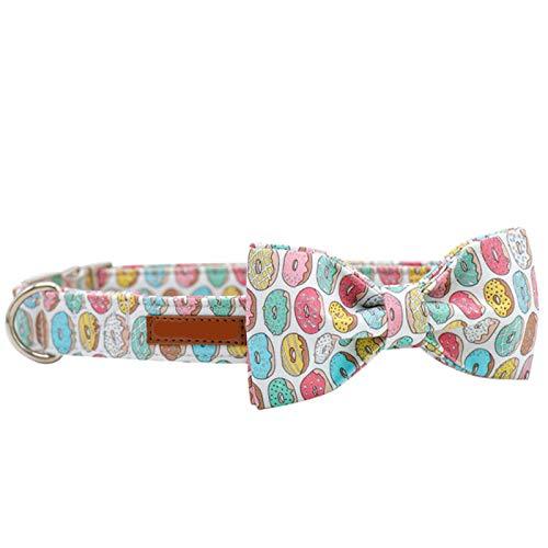 Donuts - Juego de Collar y Correa para Perro de Tela de algodón con Pajarita para Perros Grandes y pequeños Hebilla de Metal Accesorios para Mascotas: Collar y Lazo, S