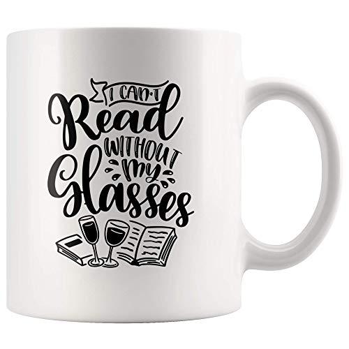 N\A No Puedo Leer sin mis Gafas Taza Divertida para los Amantes de los Libros y el Vino Ratón de Biblioteca Bookaholic Taza de café Regalo, Bebedor de Vino 11 oz