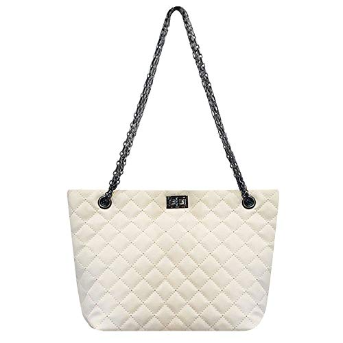 Rebecca Women Lattice Patent Leather Shoulder Bag Large Capacity Classic Quilted Tote Handbag (White)