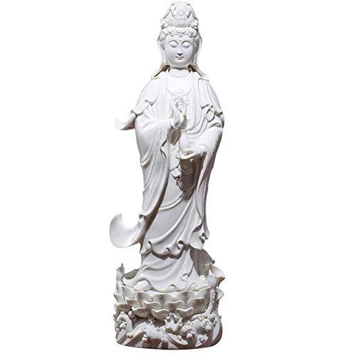 Quan Yin Estatua Estatuilla En Lotus Pedestal Ornamento Kwan Yin Diosa De La Misericordia Escultura Compasión Y El Amor De Colección Bodhisattva Avalokitesvara Regalo De La Decoración