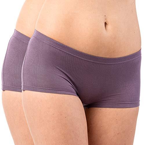 HERMKO 5700 2er Pack Damen Panty aus anschmiegsamer Baumwolle/Elastan, Farbe:Pflaume, Größe:40/42 (M)