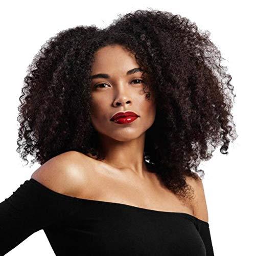 SEXYY Femme Perruque afro Nature Perruques moelleuses bouclées africaines noires,Afro résistant à la chaleur Perruque pleine crépée