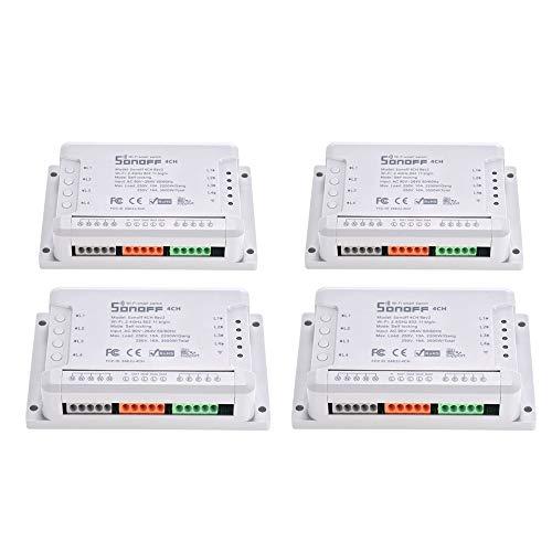 Sonoff 4CH R2 WiFi Licht Smart Switch 4 Bande 4 Canali Switch Elettronico iOS Android di Controllo AP Funziona con Google Alexa Pagina di Avvio, 4 Pezzi