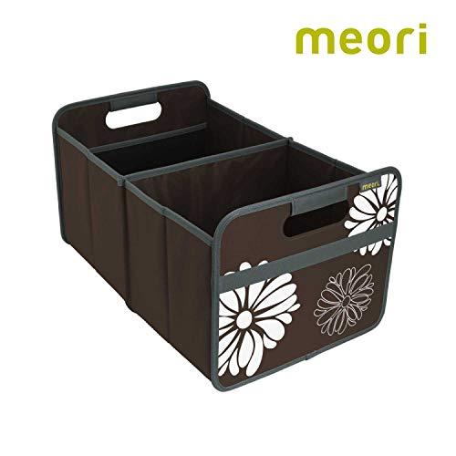 meori Faltbox Large in Kakao mit Blumen – Stabile Klappbox L mit Griffen - die perfekte Allzweck Aufbewahrungslösung – Tragkraft bis 30 kg - A100008 - 32 x 50 x 27,5 cm