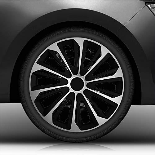 """Autoteppich Stylers 16"""" 16 Zoll Radkappen/Radzierblenden Nr.006 (Farbe Schwarz-Silber), passend für Fast alle Fahrzeugtypen (universal)"""