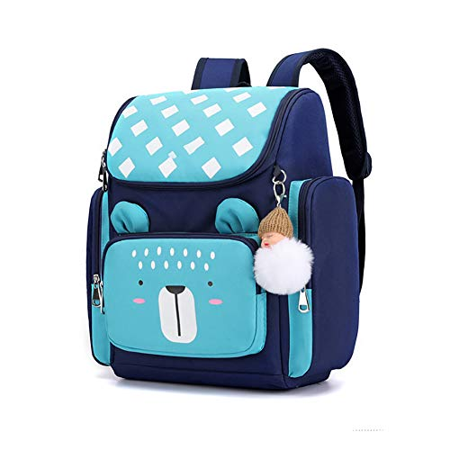 2020 NEW primary student backpack,Children's backpack,With pendant decoration, Reflective strip, for grades 1-3,Best gift for kids-blue