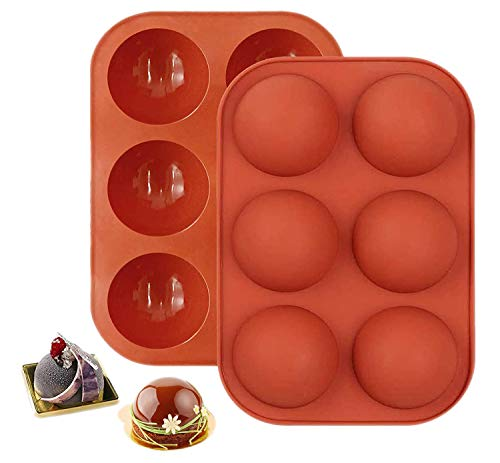 2 Packs 6 Holes Semi Sphere Silicone Mold, Baking Mold for Making Chocolate, Cake, Jelly, Dome Mousse (Coffee Medium)