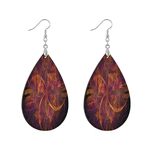 1 par de pendientes de madera con forma de gota de agua y fractales, color naranja y morado, Leaf drop, Madera Cobre Plata,