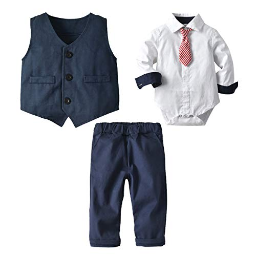 FAIRYRAIN Kinder Baby Jungen Gentleman Langarm Hemd Smoking Strampler mit Weste + Hose mit Krawatte Sakkos Taufe Hochzeit Babybekleidung Set 90