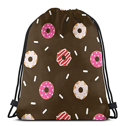 Turnbeutel Mit Kordelzug Donut Pink Gymsack Personalisierte Reiserucksack Großer Beutel Für Schwimmen, Strand, Kindergarten, 36X42Cm