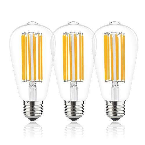 Lampadina Edison vintage 12W ST64 E27 [3-Pacco], Bianco Naturale 4000K, Edison Screw ES Lampadine a Filamento LED 100W Lampadine a Incandescenza Equivalenti Retro Stile Non Dimmerabile