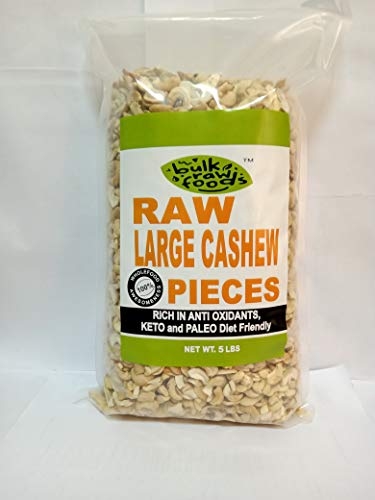 Premium Raw Cashew Pieces 100% Natural Large (5 Lbs)Pieces Unsalted (Keto and Paleo Diet Friendly) Bulk Packs by BulkRawFoods (Conventional Large Pieces, 5 Pounds)