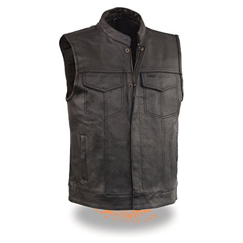 EVENT LEATHER Men's Leather Motorcycle Vest Zipper & Snap Closure w/2 Inside Gun Pockets & Single Panel Back, Black, XX-Large