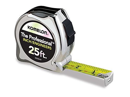 Komelon 425IEHV High-Visibility Professional Tape Measure Bother Inch and Engineer Scale Printed 25-Feet by 1-Inch, Chrome