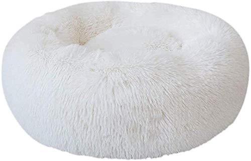 Cama para Mascotas Donut Cuddler, Cama para Gatos con Calentamiento automático, cojín Ultra Suave para calmar Perros, perreras, sofá Cama de Felpa Redonda lavable-60cm_Blanco
