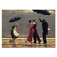 キャンバスにプリント雨の壁で踊る恋人たちアートキャンバスの絵画モダンクラシックプリントポスタープリントホームルームの装飾-70x100cmフレームなし