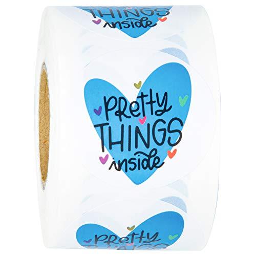 WRAPAHOLIC Pretty Things - Pegatinas de corazón con agradecimiento por comprar pequeñas tiendas locales hechas a mano, 5 x 5 cm, 500 etiquetas en total