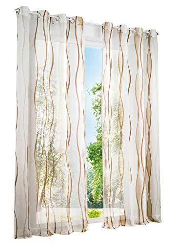 BAILEY JO 1er-Pack Gardinen mit Wellen Druck Design Vorhang Transparent Voile Vorhänge (BxH 140x145cm, Sand mit...