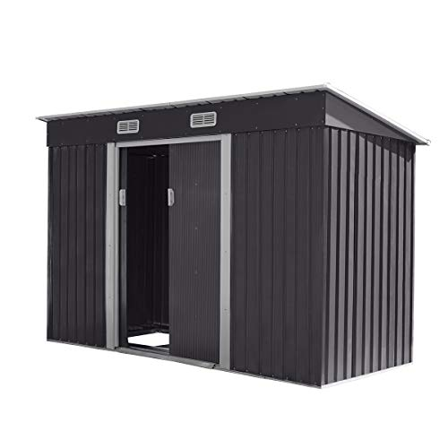 JAXPETY 4.2' x 9.1' Outdoor Storage Shed Garden Shed Utility Tool Storage House Backyard Lawn Building with Sliding Door, Black