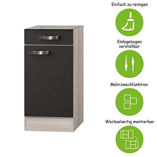 MMR Unterschrank Küche DALLAS, ohne Arbeitsplatte, 1-türig, 40 cm breit, wechselseitig montierbare Tür, Grau/Akazie Dekor