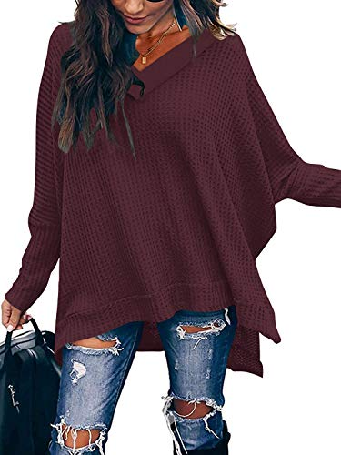 ANRABESS Women's Oversized Off Shoulder Pullover Shirt V Neck Long Sleeve Loose Fit Waffle Knit Sweater A299-zaohong-S Maroon