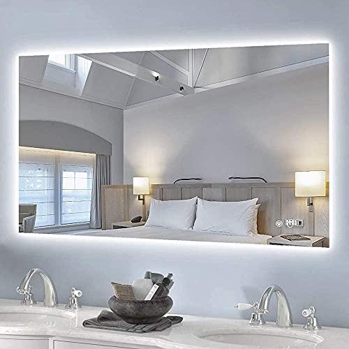 Keonjinn 40 x 24 Inch Backlit Bathroom Mirror Wall Mounted Anti-Fog Makeup Mirror with LED Light Over Vanity (Horizontal/Vertical)