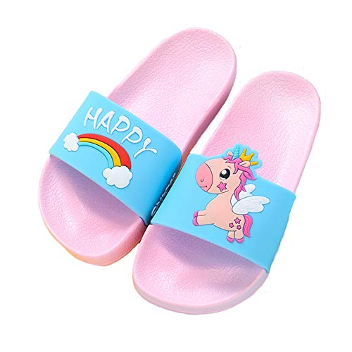 Boys Girls Slide Sandals Kids Outdoor Beach Pool Sandal Soft Unicorn Bath Slippers (Toddler/Little Kid) pink26-27