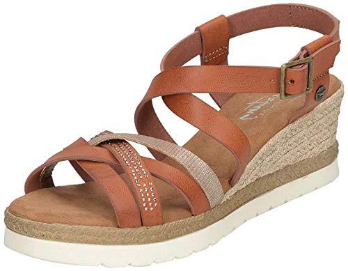 MUSTANG Damen Keil-Sandalette Braun, Schuhgröße:EUR 43