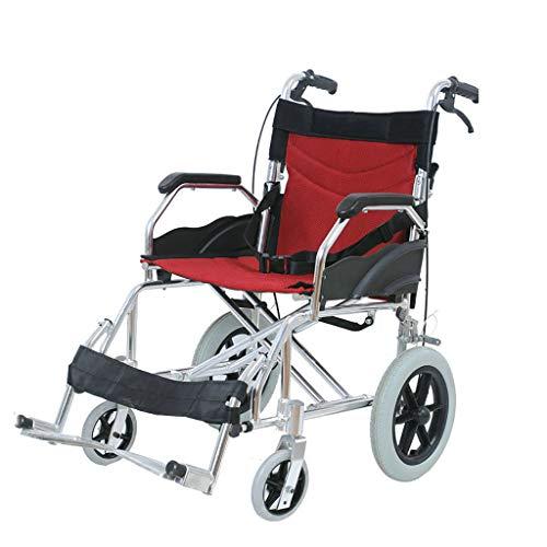 Aluminium Transport Chair Leichtgewichtiger Rollstuhl mit verstellbarer Beinstütze und Handbremse, tragbarer und zusammenklappbarer Stuhl mit Selbstantrieb, für ältere und behinderte Menschen