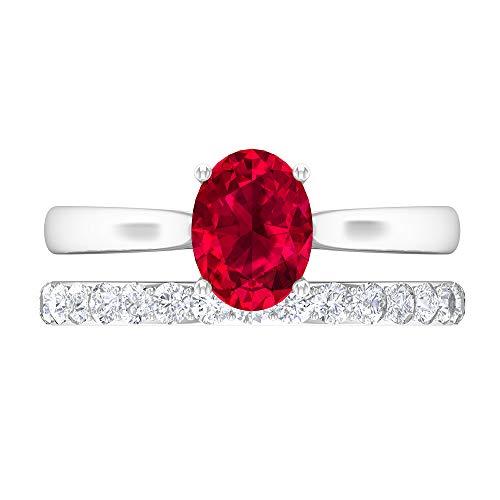 Conjunto de anillos de novia de rubí, anillo de compromiso cónico, piedras preciosas de 2,09 CT, anillo solitario ovalado D-VSSI Moissanite 8X6, 14K Oro blanco, Rubí, Size:EU 46