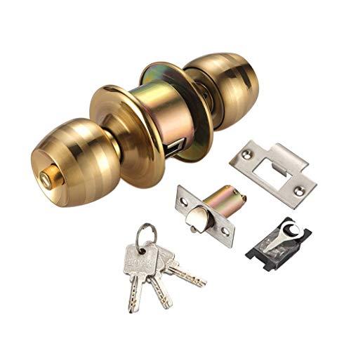 Tubayia Rund Kugelschloss Türgriff Türknauf Schloss Türschloss mit 3Pcs Schlüssel für Haus Büro (5cm - bolzen)