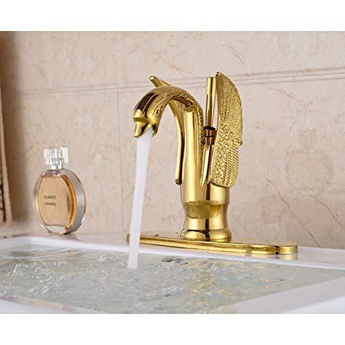 WEILINW Schwanenform GoldenerWaschbeckenhahn Einhand-Waschtisch-Mischbatterie mit Abdeckplatte