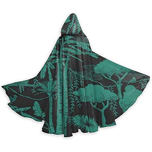 L'art des Motifs forestiers Unisexe Capuche Cape Longue Cape avec Capuche Halloween Noël Cosplay Party Costumes Noir