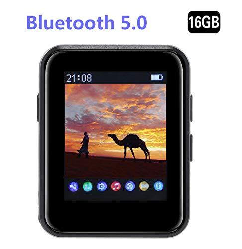 Jiasi MP3 BENJIE 16GB MP3 Bluetooth 5.0' Reproductor De MP3 Pantalla Táctil Completa HiFi Sin Pérdida De Sonido MP3 Running, FM Radio, Grabadora De Voz con Auriculares