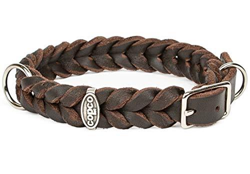 CopcoPet - Fettleder Halsband, Braun, 15mm Breite, 30-34cm Halsumfang, geflochten mit Dornschließe, geflochtenes Hundehalsband, Handarbeit aus Deutschland, hochwertiges Rindsleder