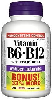 Webber Naturals Vitamin B6+B12 with Folic Acid 50 mg/I25 mcg · and Folic Acid, 120 Capsules (packaging may vary)